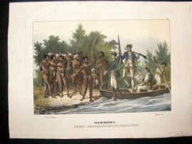 Schinz 1845 Antique Hand Col Print. Captain Cook Landing, Malakula, Pacific 39